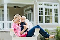 Mother and Son Sitting in Chair on Lawn Stock Photo - Premium Rights-Managednull, Code: 700-03644554