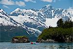 Kayakers paddling towards Black Sand Beach in Harriman Fjord, Chugach National Forest, Prince William Sound, Southcentral Alaska, Summer Stock Photo - Premium Rights-Managed, Artist: AlaskaStock, Code: 854-03645873