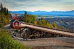 Newly restored Railroad Bridge to Kennecott Mill Town, Wrangell St. Elias National Park & Preserve, Southcentral Alaska, Summer Stock Photo - Premium Rights-Managed, Artist: AlaskaStock, Code: 854-03646323