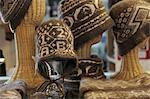 Display of hand knitted Qiviut hats at the Oomingmak Musk Ox Producers' Co-operative in Downtown Anchorage, Southcentral Alaska, Summer/n Stock Photo - Premium Rights-Managed, Artist: AlaskaStock, Code: 854-03646341