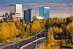 Scenic view of Minnesota Blvd. traffic along Westchester Lagoon on a sunny day with downtown Anchorage in the distance, Southcentral Alaska, Fall Stock Photo - Premium Rights-Managed, Artist: AlaskaStock, Code: 854-03646349