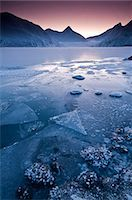 Close up of the frozen surface of Portage Lake at dawn in the Chugach National Forest, Southcentral Alaska, Winter Stock Photo - Premium Rights-Managednull, Code: 854-03646726