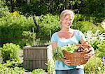 Woman carrying basket with vegetables Stock Photo - Premium Royalty-Free, Artist: Aflo Relax, Code: 698-03657745