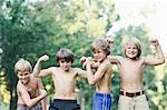 Boys Flexing Muscles