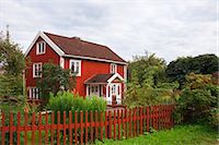 Red wooden house, Bullerbue, Smaland, Sweden Stock Photo - Premium Rights-Managednull, Code: 700-03659289