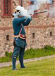 French Soldier Firing Gun, Fort Louisbourg, Cape Breton, Nova Scotia, Canada Stock Photo - Premium Rights-Managed, Artist: Peter Christopher, Code: 700-03665636