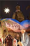 Nativity Scene at Christmas Market in front of Frauen Church at night, Neumarkt, Innere Altstadt, Dresden, Saxony, Germany, Europe Stock Photo - Premium Rights-Managed, Artist: Robert Harding Images, Code: 841-03673106