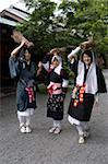 Oharame (Ohara girls) in traditional costume carrying fire wood in the rural village of Ohara, Kyoto, Japan, Asia Stock Photo - Premium Rights-Managed, Artist: Robert Harding Images, Code: 841-03676937