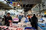Interior view of sales stalls at Tsukiji Wholesale Fish Market, the world's largest fish market in Tokyo, Japan, Asia Stock Photo - Premium Rights-Managed, Artist: Robert Harding Images, Code: 841-03676942
