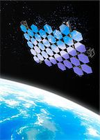 Mirror array. Computer artwork of an array of mirrors in Earth orbit. Stock Photo - Premium Royalty-Freenull, Code: 679-03681018