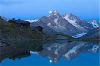 Chalet du Lac Blanc in front of Aiguilles de Chamonix, French Alps, France Stock Photo - Premium Rights-Managednull, Code: 700-03682505