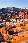 Overview of The Hoodoos Covered in Snow, Bryce Canyon National Park Badlands, Utah, USA