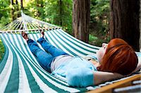 Woman in Hammock in Redwood Trees, Santa Cruz County, California, USA Stock Photo - Premium Royalty-Freenull, Code: 600-03686120