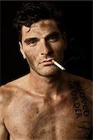 Dirty Guy Smoking Stock Photo - Premium Rights-Managednull, Code: 700-03692138
