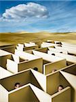 People in Maze in Desert