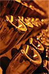 Detail of bottles of champagne in a rack Stock Photo - Premium Royalty-Freenull, Code: 653-03706320