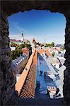 Estonia, Tallinn, View Of Lower Town From Town Wall With Oleviste Church In Background Stock Photo - Premium Rights-Managed, Artist: AWL Images, Code: 862-03711066
