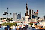 Estonia, Tallinn, View Of Town Hall Spire With Skyscrapers Of Business District In Background Stock Photo - Premium Rights-Managed, Artist: AWL Images, Code: 862-03711081
