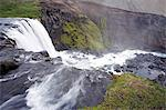 Iceland. The active tectonic nature of the interior of Iceland has resulted in a landscape dotted with spectacular waterfalls,such as this one viewed from the top near Laugavegur. Stock Photo - Premium Rights-Managed, Artist: AWL Images, Code: 862-03711807