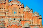 Hawa Mahal; or the Palace of the Wind in the middle of Johari Bazaar and part of the zenana palace (women's quarters) designed by Lalchand Usta in 1799. Jaipur; Rajasthan; India. Stock Photo - Premium Rights-Managed, Artist: AWL Images, Code: 862-03711966