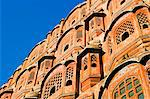 Hawa Mahal; or Palace of the Wind in the middle of Johari Bazaar and part of the zenana palace (women's quarters) designed by Lalchand Usta in 1799. Jaipur; Rajasthan; India. Stock Photo - Premium Rights-Managed, Artist: AWL Images, Code: 862-03711972