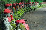 Kanmangafuchi area of Nikko town. The Narabijizo stone statues wearing red bibs. Stock Photo - Premium Rights-Managed, Artist: AWL Images, Code: 862-03712497