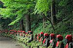 Kanmangafuchi area of Nikko town. The Narabijizo stone statues wearing red bibs. Stock Photo - Premium Rights-Managed, Artist: AWL Images, Code: 862-03712499
