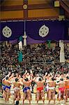 Grand Taikai Sumo Wrestling Tournament Dohyo ring entering ceremony of top ranked wrestlers Stock Photo - Premium Rights-Managed, Artist: AWL Images, Code: 862-03712506