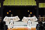Japan,Honshu Island,Tokyo,Harajuku District. Meiji Shrine - dedicated to Emperor Meiji in 1920 - dance by Shrine Maidens in special Kimonos for Culture Day Holiday. Stock Photo - Premium Rights-Managed, Artist: AWL Images, Code: 862-03712528
