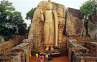 pilgrimartworks - Sri Lanka, Aukana. Carved from a single slab of rock, the 12-metre high Aukana, or Abhayamudra, Buddha. Stock Photo - Premium Rights-Managednull, Code: 862-03713506