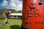 Tristan Da Cunha Island, settlement capital of Edinburgh. The Royal Mail Post Office with a red letter box in the front.(MR) Stock Photo - Premium Rights-Managed, Artist: AWL Images, Code: 862-03713740