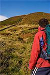 Wales, Clwyd.  A trekker sets out over Moel Arthur in the Clwydian Hills. Stock Photo - Premium Rights-Managed, Artist: AWL Images, Code: 862-03714252
