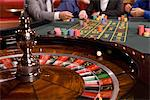 Close up of ball spinning on roulette wheel Stock Photo - Premium Royalty-Free, Artist: Ursula Klawitter, Code: 635-03716370