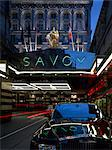 The Savoy Hotel refurbishment, completed 2010. Entrance at night. Architects: Interior renovation: Pierre Yves Rochon Stock Photo - Premium Rights-Managed, Artist: Arcaid, Code: 845-03720859