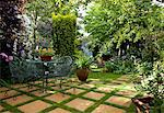 Suburban Garden. Wire garden furniture on checkerboard paving stone and grass amongst lush green planting including yew tree and rosa rubrifolia Stock Photo - Premium Rights-Managed, Artist: Arcaid, Code: 845-03720923