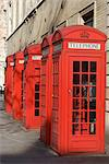 Old-fashioned red telephone boxes, Broad Court, near the Royal Opera House, Covent Garden, London, WC2, England