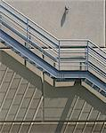 Cornell Performing Arts Center, Ithaca, New York, 1989. Detail of exterior metal staircase. Architects: Stirling and Wilford Stock Photo - Premium Rights-Managed, Artist: Arcaid, Code: 845-03721471