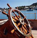 Wheel of boat on board yacht, close up Stock Photo - Premium Rights-Managed, Artist: IIC, Code: 832-03723867