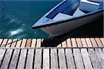 Dinghy moored to dock, Close Up Stock Photo - Premium Rights-Managed, Artist: IIC, Code: 832-03724472