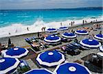 People on beach with umbrellas, elevated view Stock Photo - Premium Rights-Managed, Artist: IIC, Code: 832-03724554