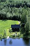 View of cottage beside forest and lake, Aerial View Stock Photo - Premium Rights-Managed, Artist: IIC, Code: 832-03724873