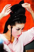 southeast asian - South East Asia, Malaysia, Penang, Georgetown, Taiwanese Chinese Opera, performers preparing makeup Stock Photo - Premium Rights-Managednull, Code: 862-03731822
