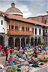 Peru, Santuranticuy market is held in the main square of Cusco once a year on Christmas eve. Items for sale are related to Christmas. Stock Photo - Premium Rights-Managed, Artist: AWL Images, Code: 862-03732079