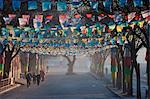 China, Hebei Province, Chengde, Tibetan prayer flags lining a street Stock Photo - Premium Rights-Managed, Artist: AWL Images, Code: 862-03736563