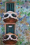 Spain, Cataluna, Barcelona, Eixample, the balconies and facade of Casa Batlo (House of Bones), Architect- Antoni Gaudi Stock Photo - Premium Rights-Managed, Artist: AWL Images, Code: 862-03737145