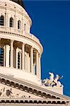 United States, California; Sacramento. Close-up of the State Capitol building showing part of the dome and pediment on the west facade. Stock Photo - Premium Rights-Managed, Artist: AWL Images, Code: 862-03737413