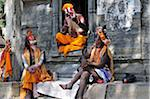 Sadhus, Pashupatinath Temple, Kathmandu, Bagmati, Madhyamanchal, Nepal Stock Photo - Premium Rights-Managed, Artist: Jochen Schlenker, Code: 700-03737815