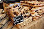 Fougasse at Market Stand, Aix-en-Provence, Bouches-du-Rhone, Provence, France Stock Photo - Premium Rights-Managed, Artist: Puzant Apkarian, Code: 700-03738665