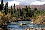 Group packrafts down the Sanctuary River in Denali National Park, Interior Alaska, Autumn Stock Photo - Premium Rights-Managed, Artist: AlaskaStock, Code: 854-03739559