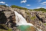 Waterfall cascades into a turquoise pool outside of Skagway near the Canadian border, Southeast Alaska, Summer Stock Photo - Premium Rights-Managed, Artist: AlaskaStock, Code: 854-03739693